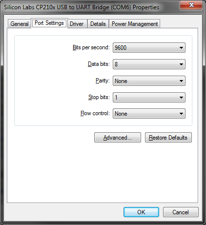 Port properties settings page