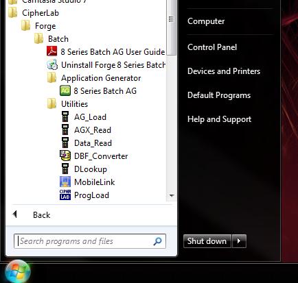 Start menu showing the CipherLab application shortcuts
