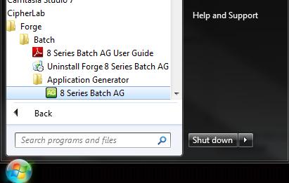 Windows 7 Start menu showing location of the application generator