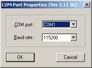 Port and baud selection for loading